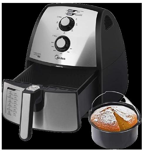 Fritadeira Air fryer Midea, 4L, Inox, inclui o Barril do Bolo